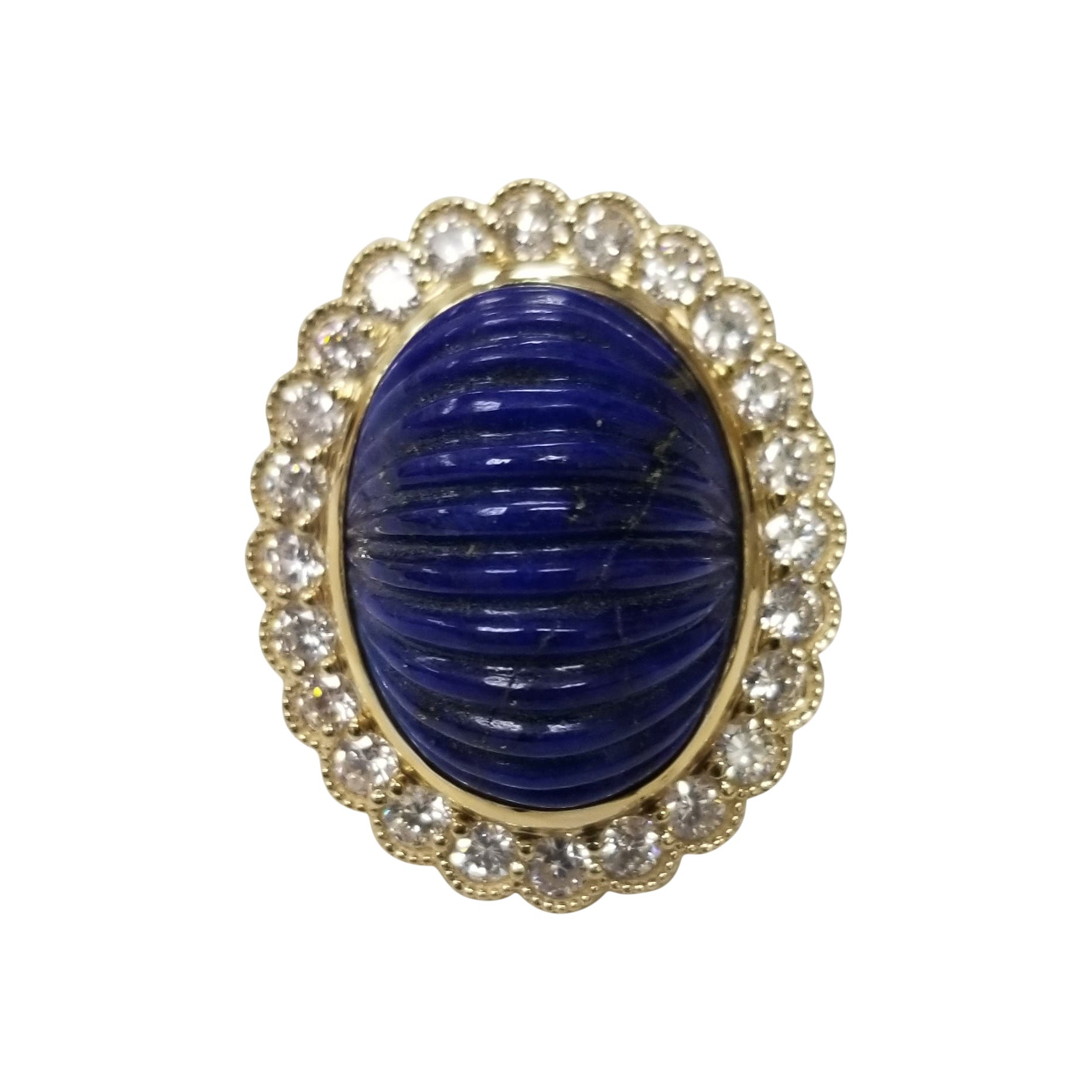 14 Karat Yellow Gold Carved Lapis Lazuli and Diamond Ring