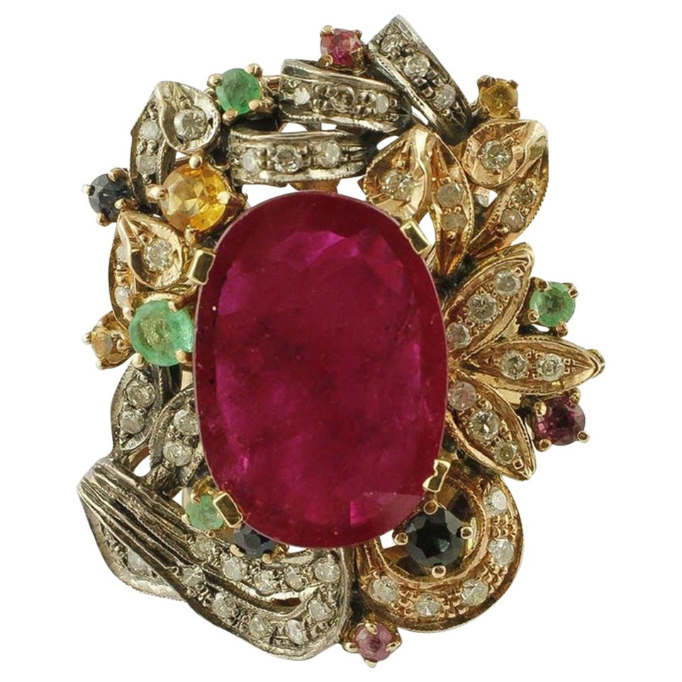 Central Ruby, Emeralds, Sapphires and Diamonds, 9 Karat Gold and Silver Ring