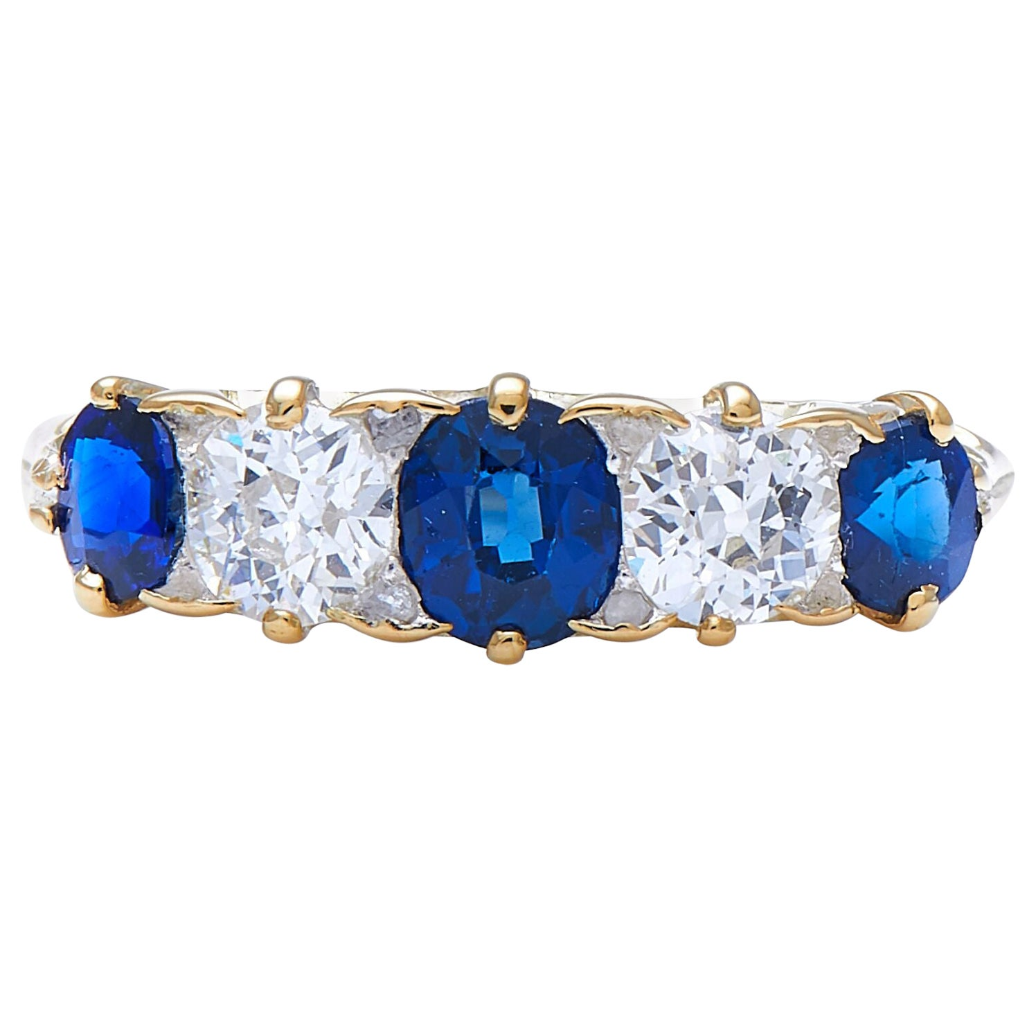 Antique Victorian, 18ct Yellow Gold, Natural Sapphire and Diamond Half Hoop Ring