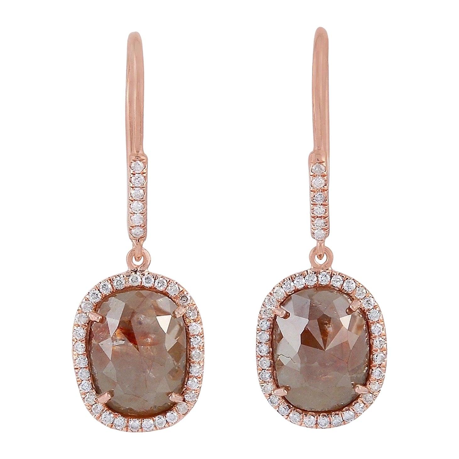 Fancy Diamond 18 Karat Gold Earrings
