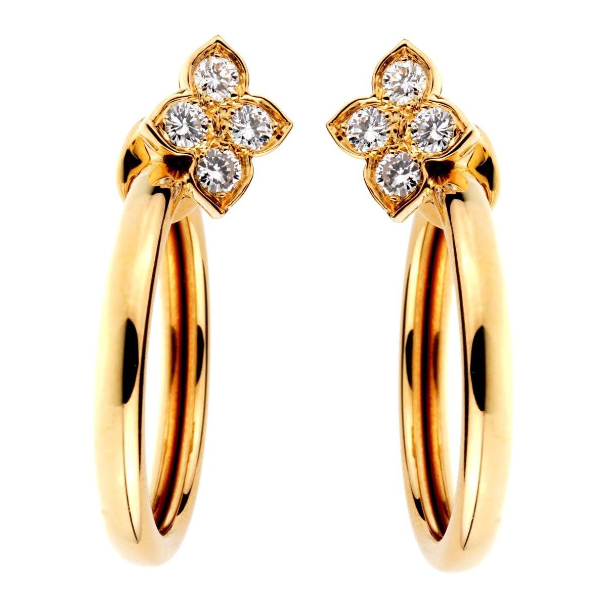 Cartier Flower Hoop Diamond Yellow Gold Earrings