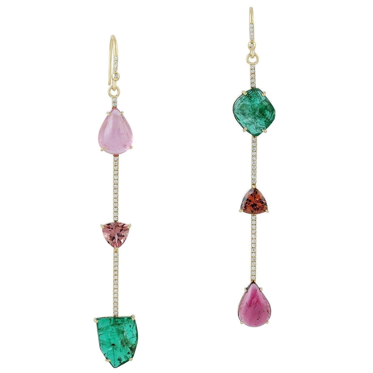 Emerald Tourmaline Diamond 18 Karat Gold Linear Earrings