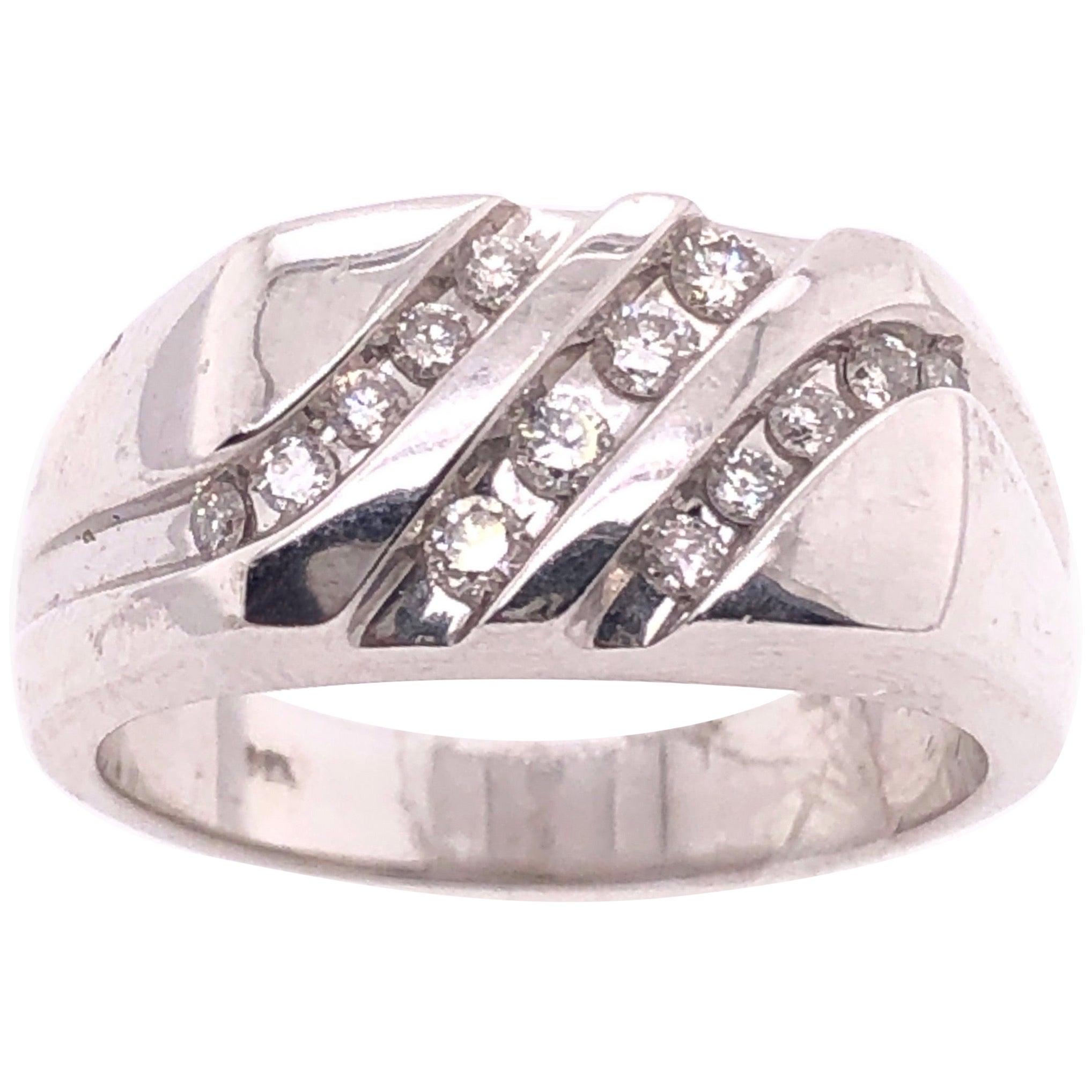 14 Karat White Gold Contemporary Three-Row Diamond Ring Band
