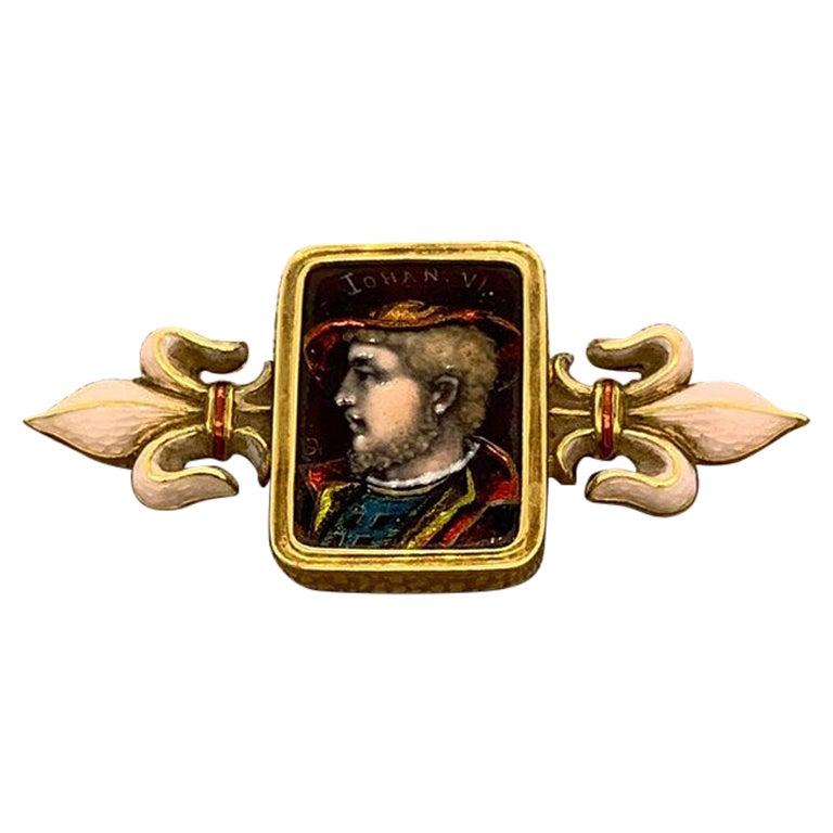 Antique Porcelain Enamel Gold Brooch