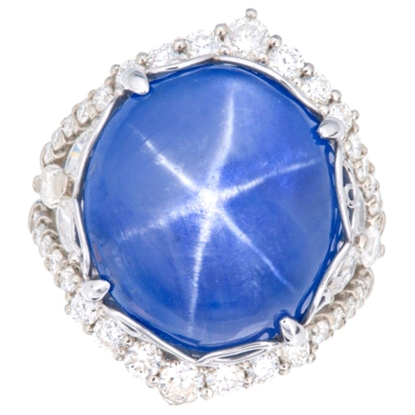 Emilio Jewelry Certified 34 Carat No Heat Star Sapphire Ring
