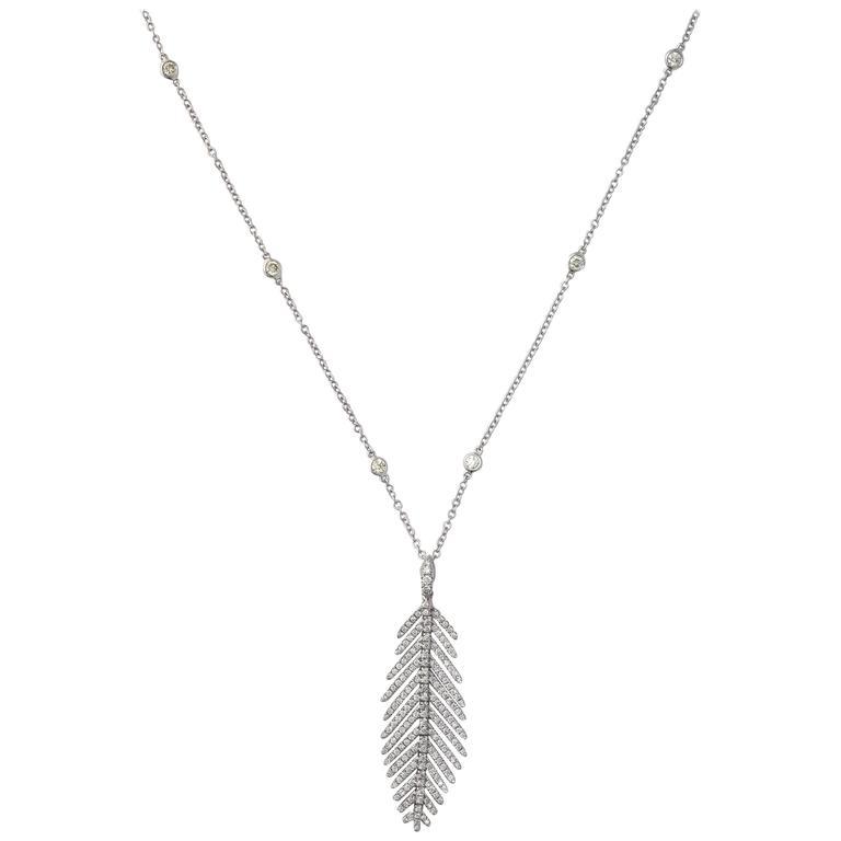 Diamond Gold Feather Motif Pendant