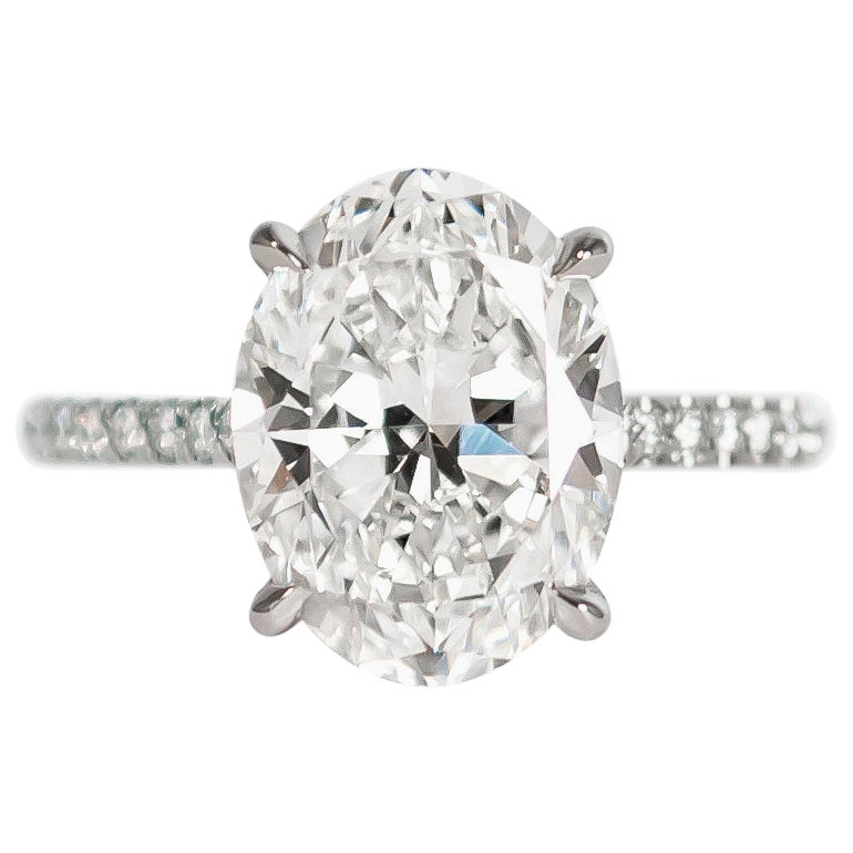 J. Birnbach GIA Certified 4.01 Carat Oval Diamond Solitaire Ring