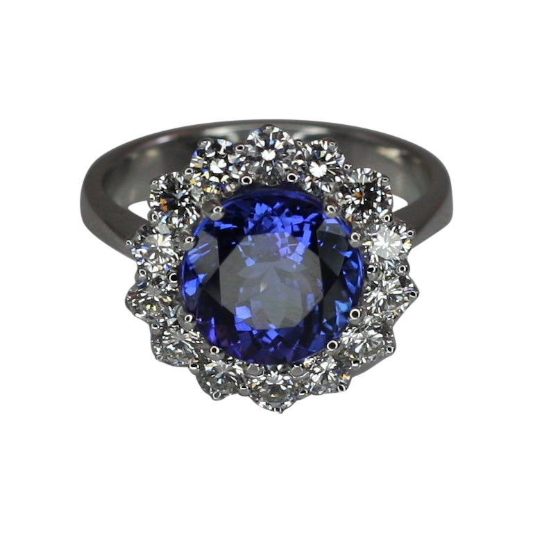Georgios Collections 18 Karat White Gold Tanzanite and Diamond Rosette Ring