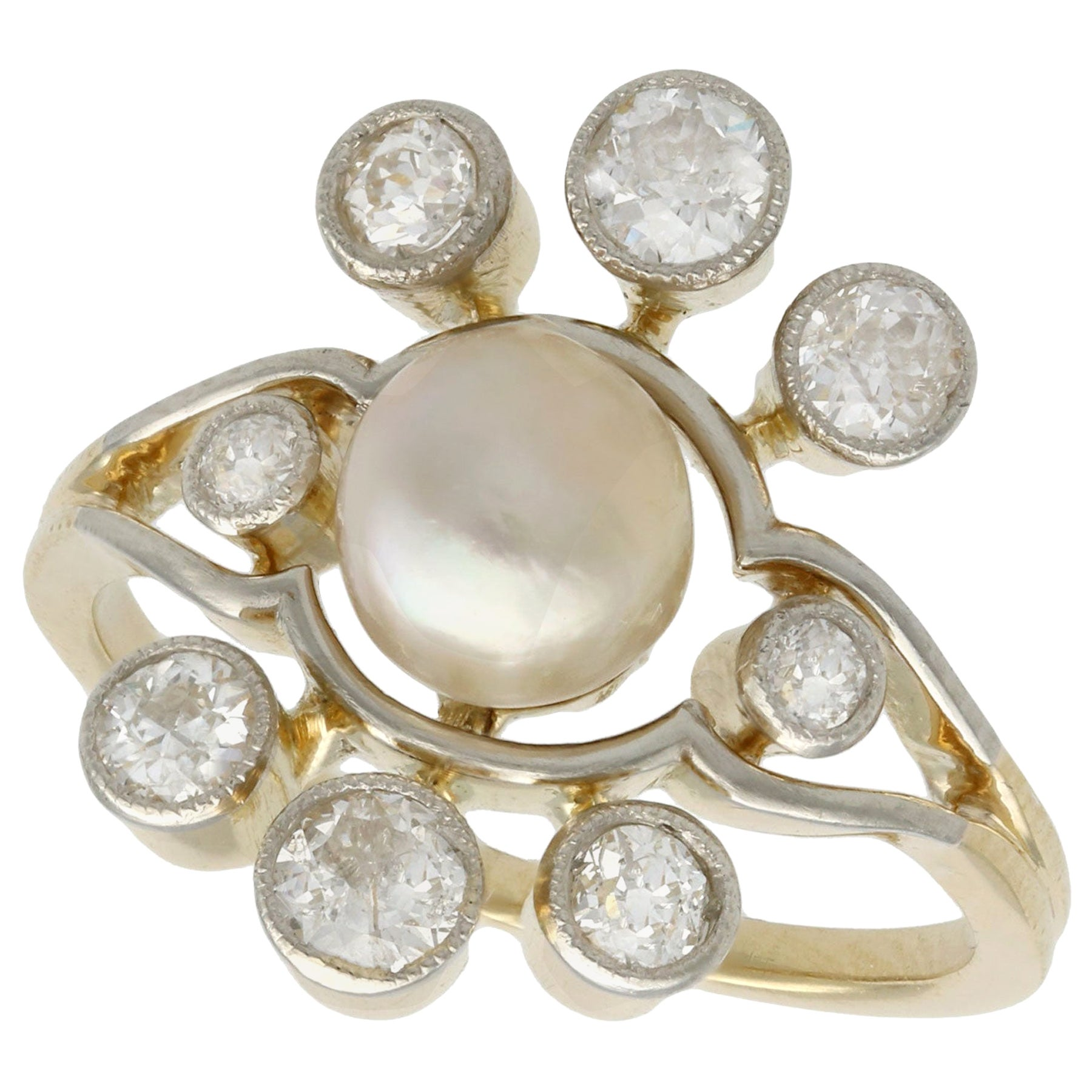Antique 1930s Pearl and Diamond Yellow Gold Cluster Ring