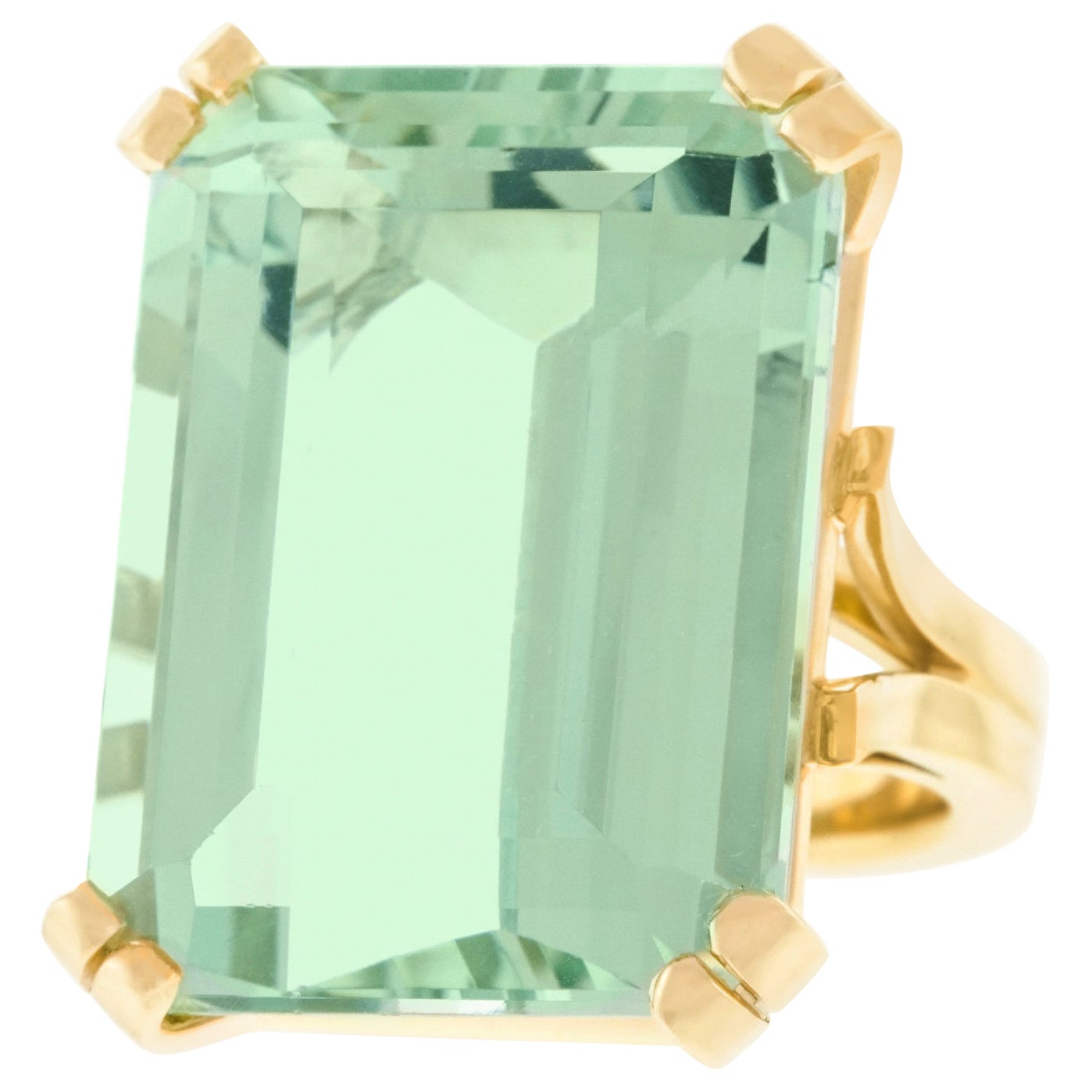 54.14 Carat Natural Green Beryl-Set Gold Ring GIA