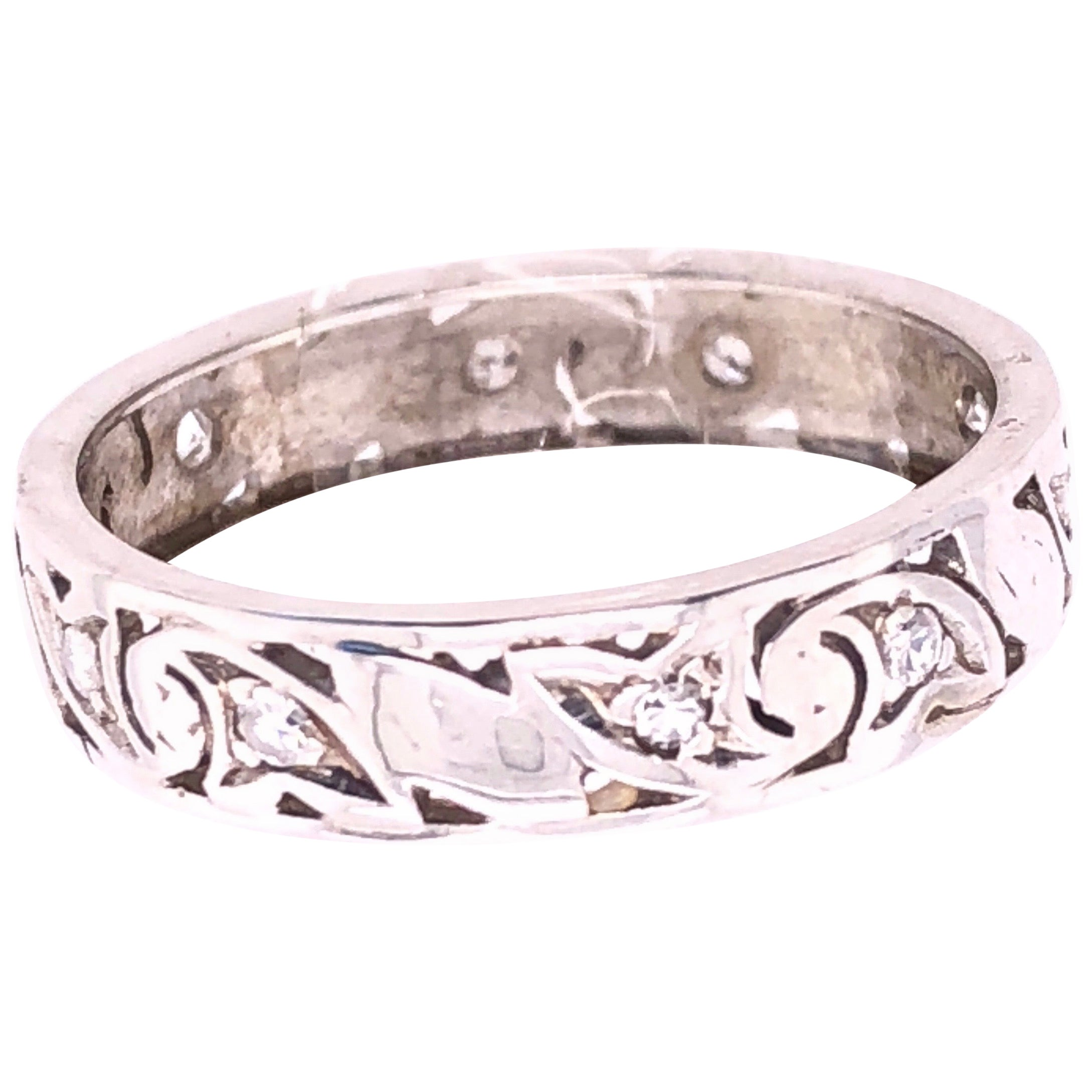 14 Karat White Gold Scroll Design Eternity Diamond Band Ring