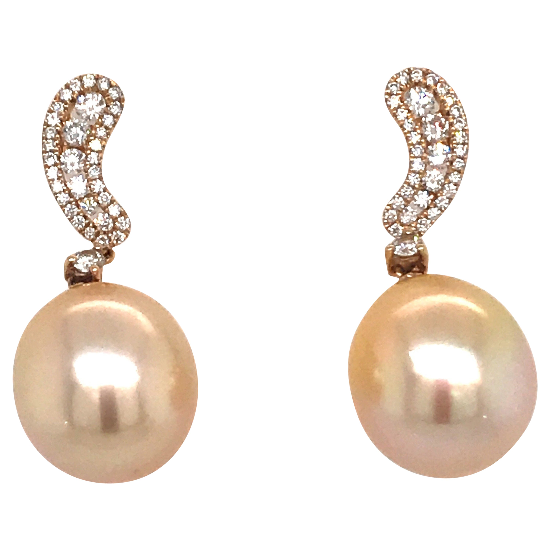 Golden South Sea Pearl Diamond Drop Earrings .40 Carat 18 Karat Yellow Gold
