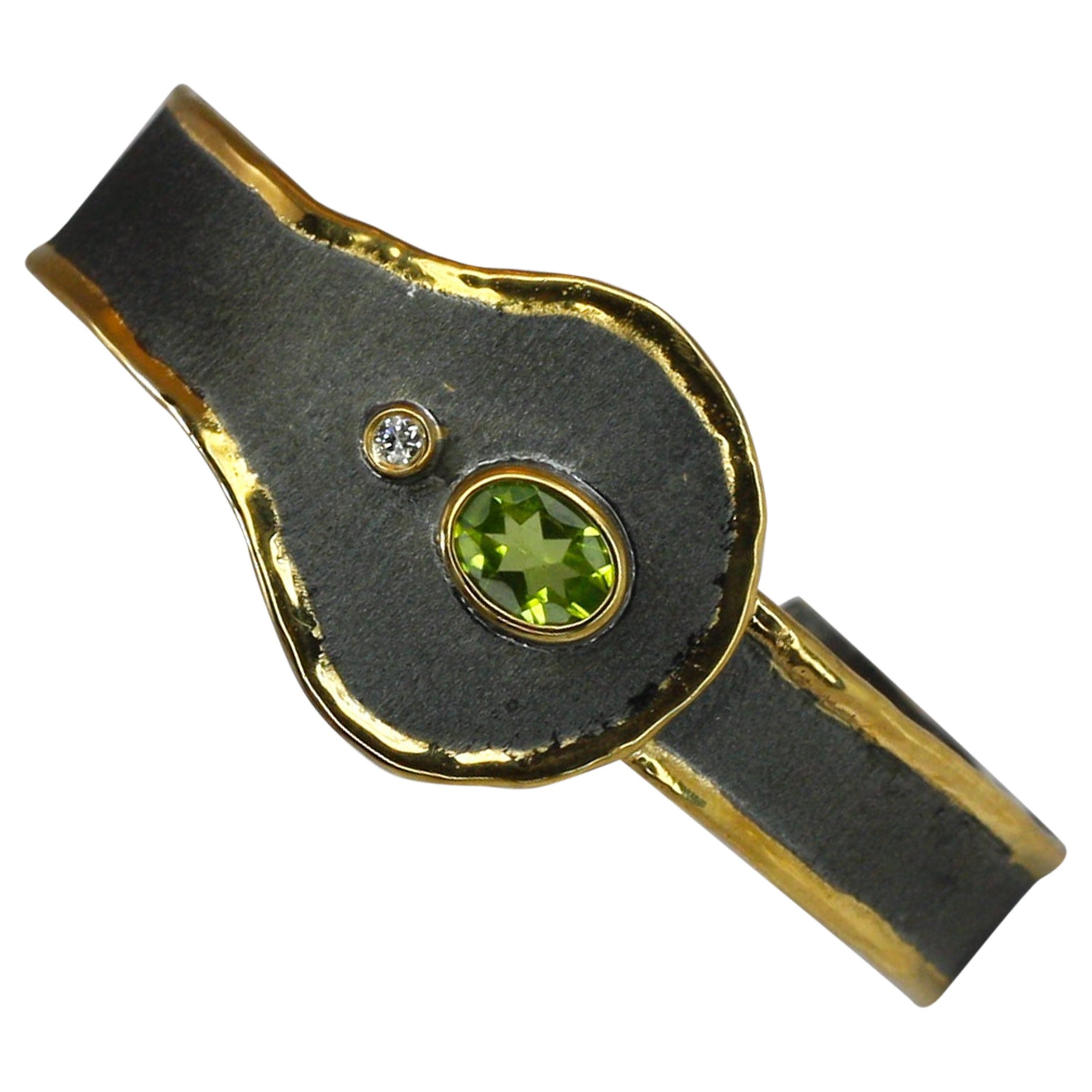 Yianni Creations Peridot and Diamond Silver Bracelet with Rhodium and Pure Gold