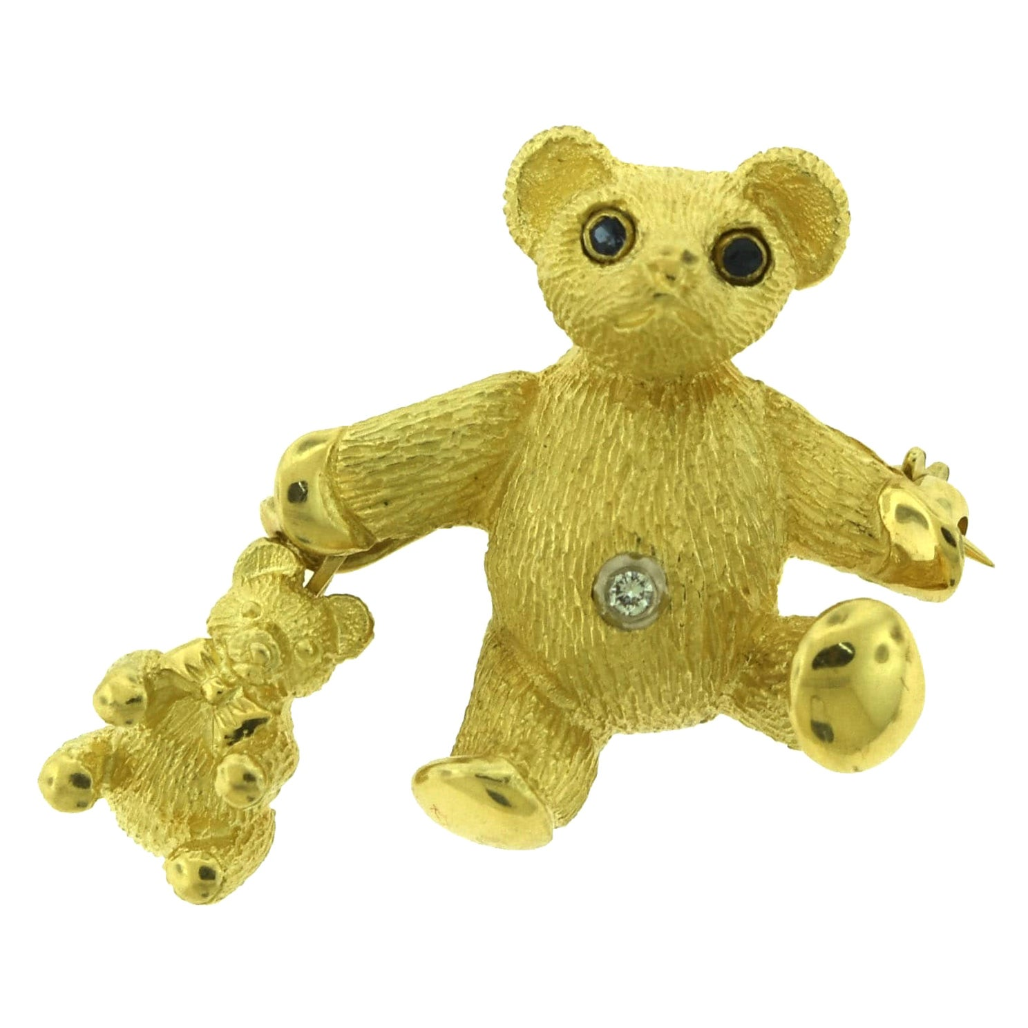 Tiffany & Co. Sapphire Diamond Yellow Gold Mother and Baby Bear Pin