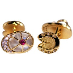 Friedrich Moonstone Ruby Diamond Golden Cufflink