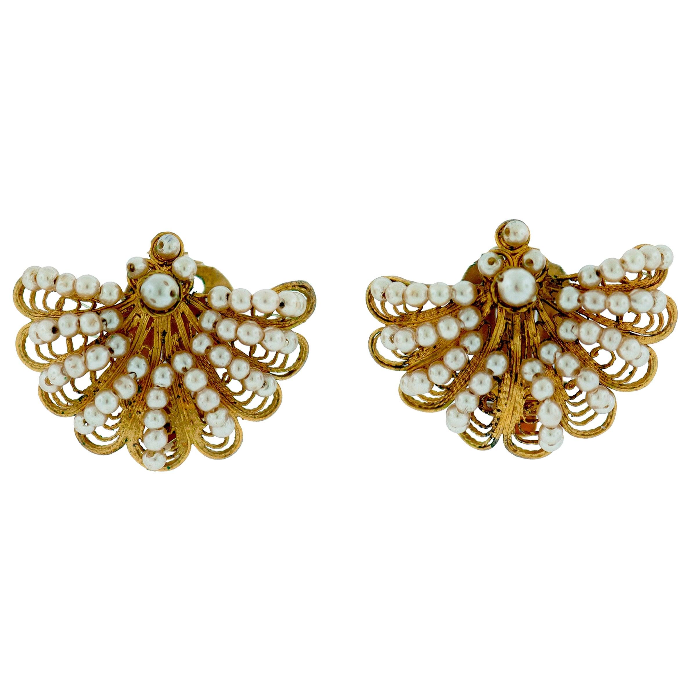 Seed Pearl Tellow Gold Earrings