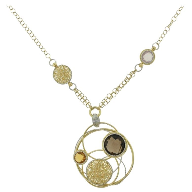 Quartz and Citrine Yellow Gold Overlapping Circles Italian Necklace