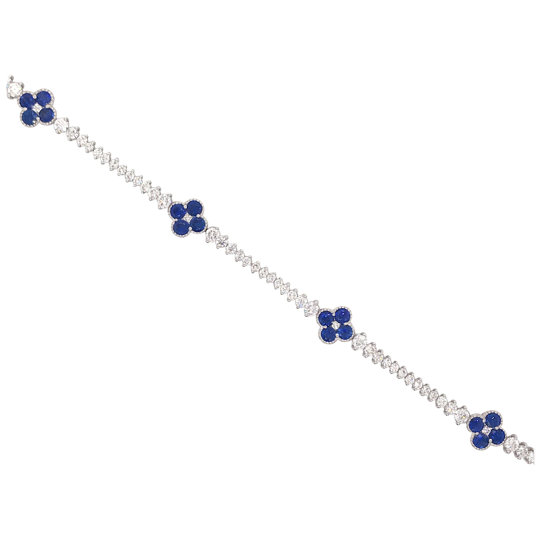 Sapphire Floral Diamond Tennis Bracelet 4.90 Carat 18 Karat White Gold