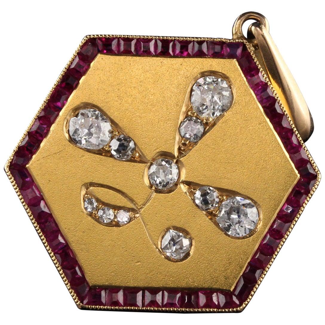 Antique Art Deco 14 Karat Yellow Gold Old Euro Cut Diamond and Ruby Pendant