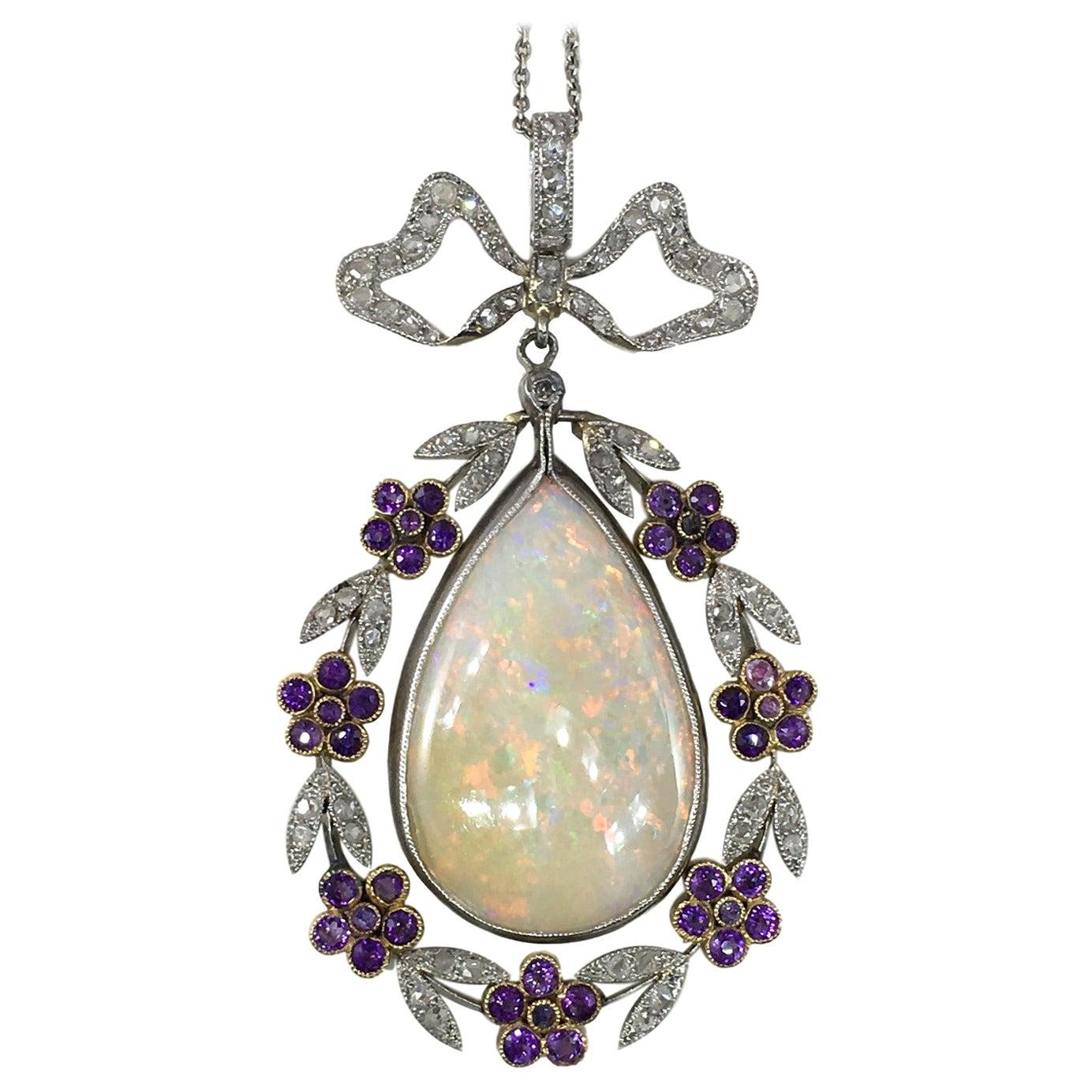 Belle Époque Opal Diamond Amethyst Pendant