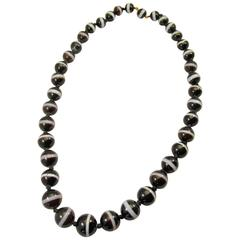 Antique Banded Agate Bead Necklace