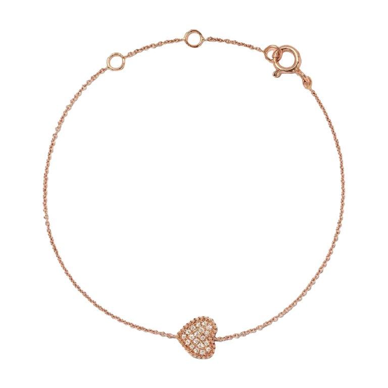 18 Karat Pink Gold Mye Heart Beading Pave Diamond Bracelet