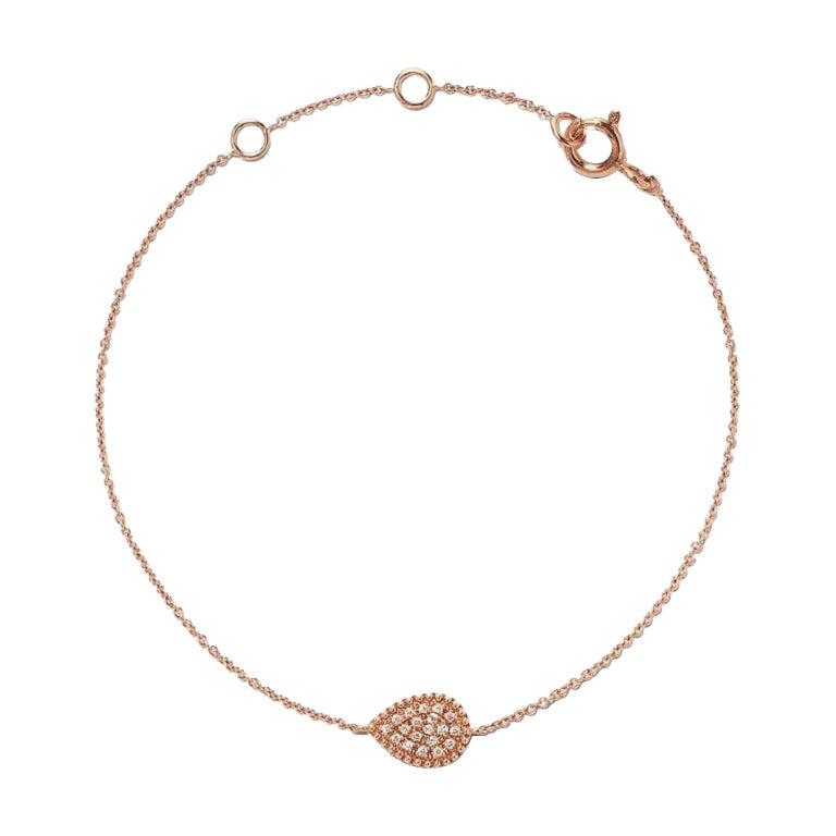18 Karat Pink Gold Mye Pear Beading Pave Diamond Bracelet
