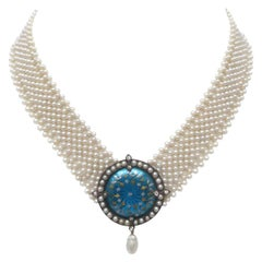 Marina J. Unique Woven Pearl Necklace with Vintage Blue Enamel Centerpiece