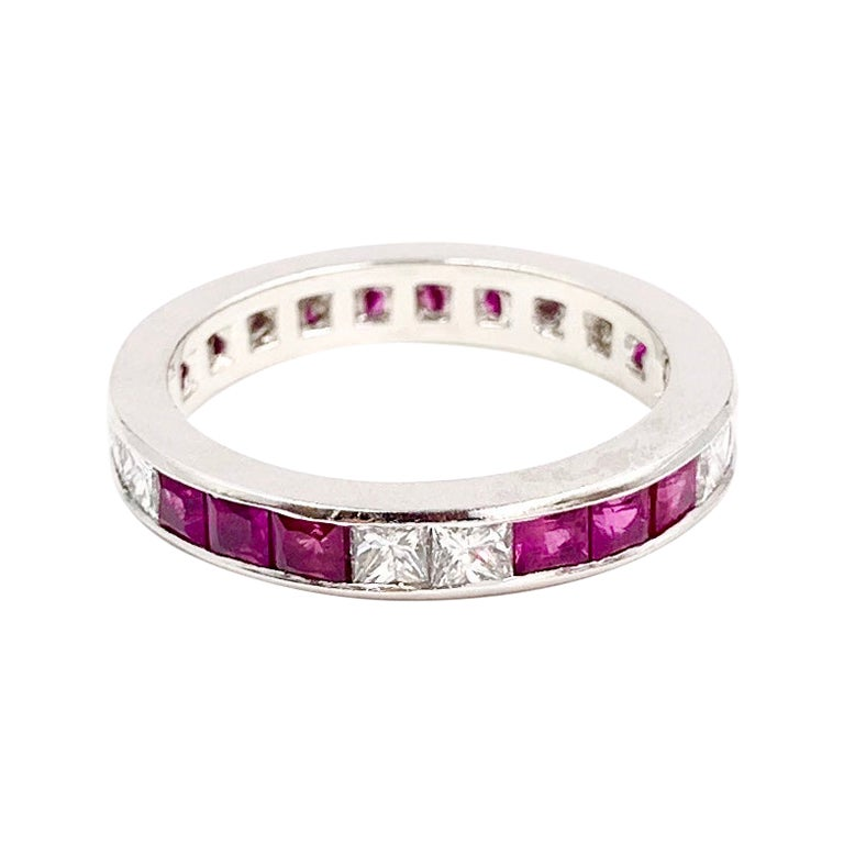 Platinum Ruby and Diamond Channel Set Eternity Band