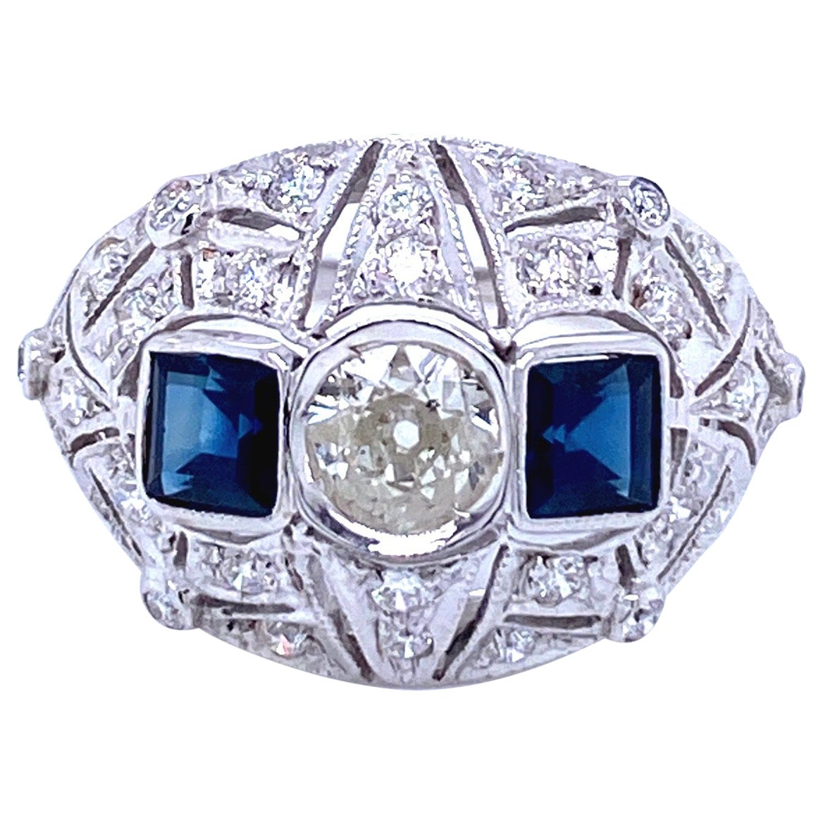 Art Deco Diamond Sapphire Gold Ring