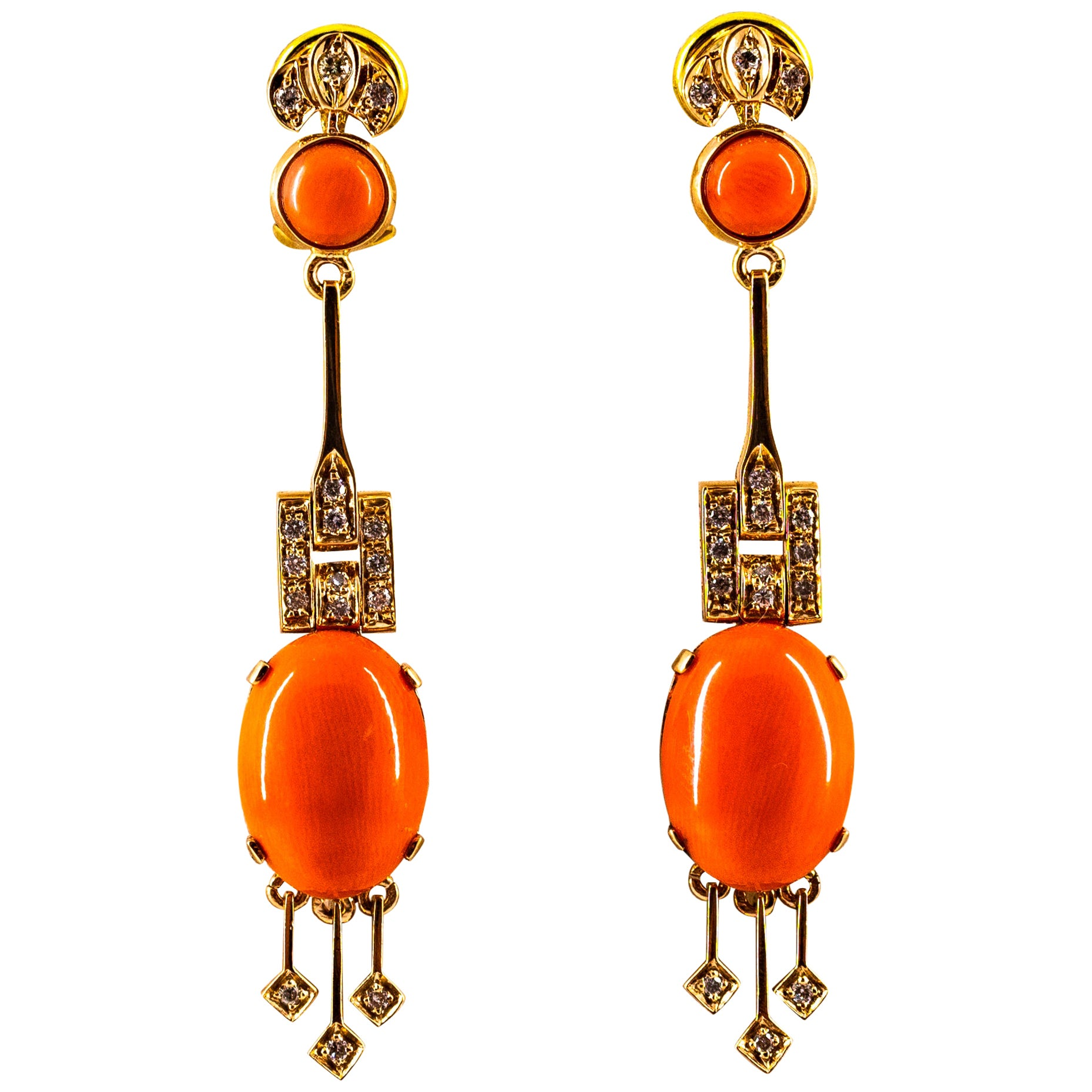 Mediterranean Peach Coral 0.30 Carat White Diamond Yellow Gold Clip-On Earrings