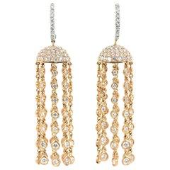 Diamond 18 Karat Rose White Gold Dangle Drop Earrings