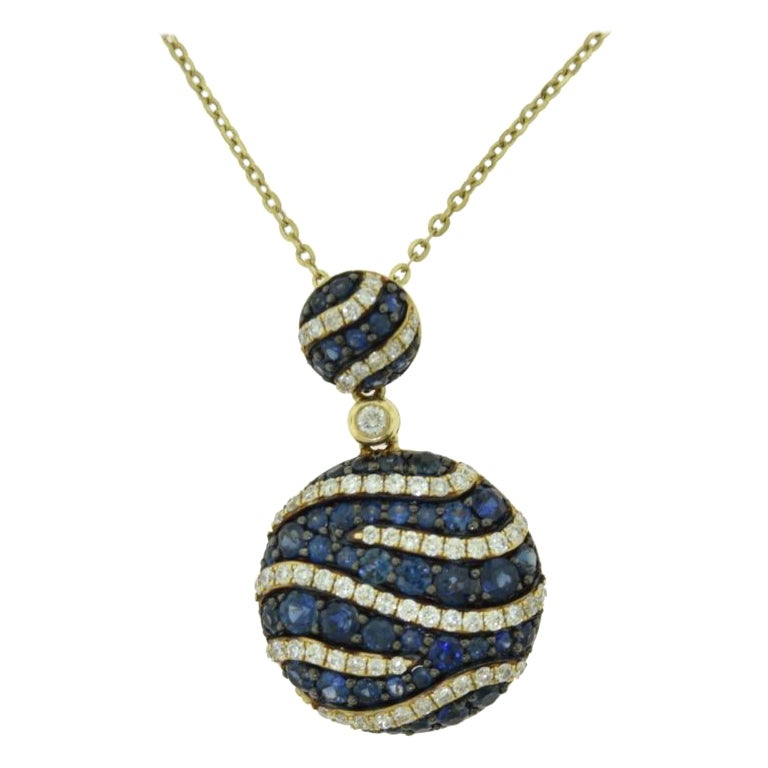 Sapphire and Diamond in Yellow Gold Double Circle Drop Pendant Necklace