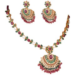 Indian Ruby, Emerald and Pearl Necklet, Earrings and Bracelet