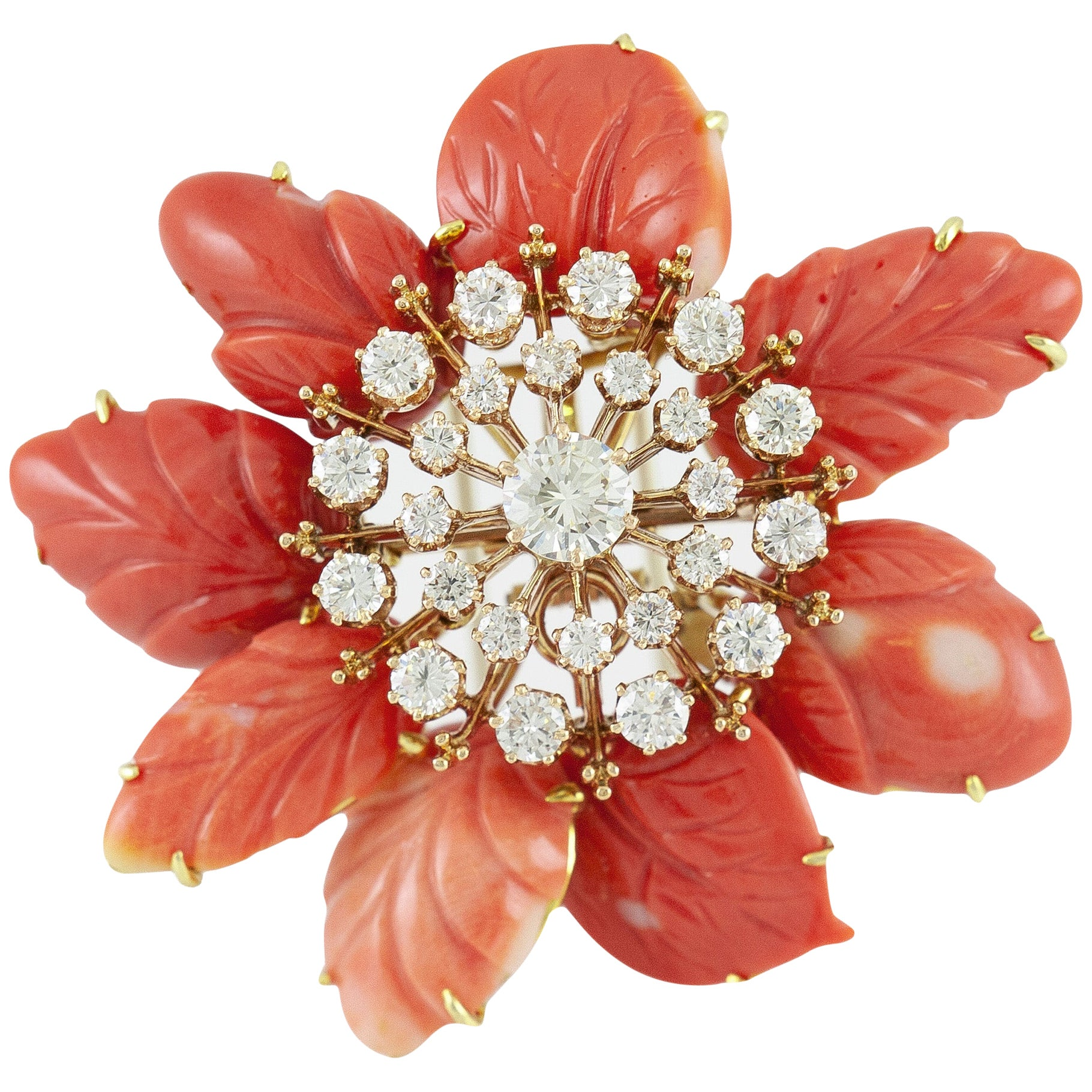 David Webb Carved Coral Flower Brooch with Diamonds