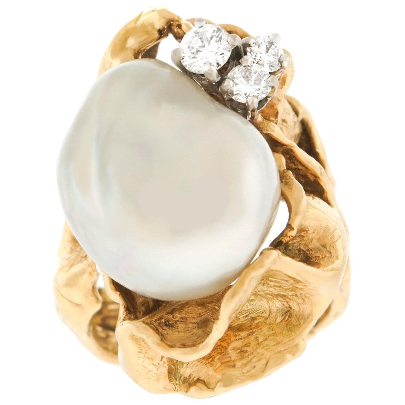 Gilbert Albert Modernist Diamond and Pearl Set Gold Ring