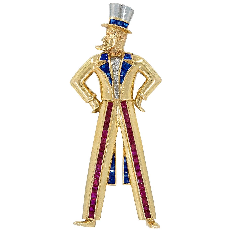 Van Cleef & Arpels Diamond Ruby Sapphire Yellow Gold Uncle Sam Brooch