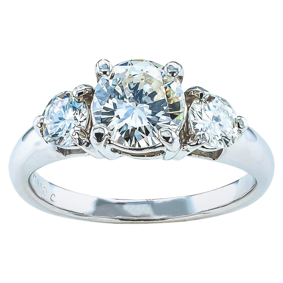 Three-Stone 0.96 Carat Center Diamond Platinum Engagement Ring
