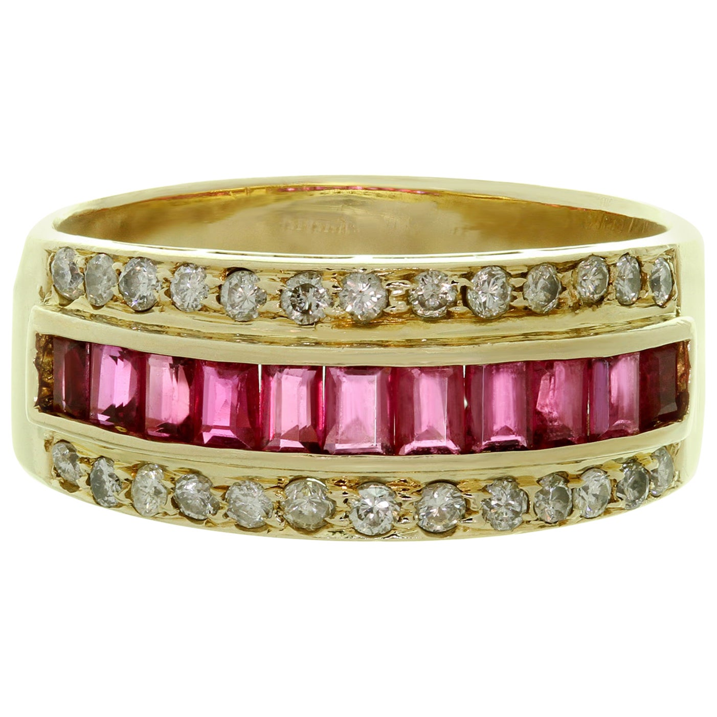 Diamond Baguette-Cut Ruby Yellow Gold Band Ring
