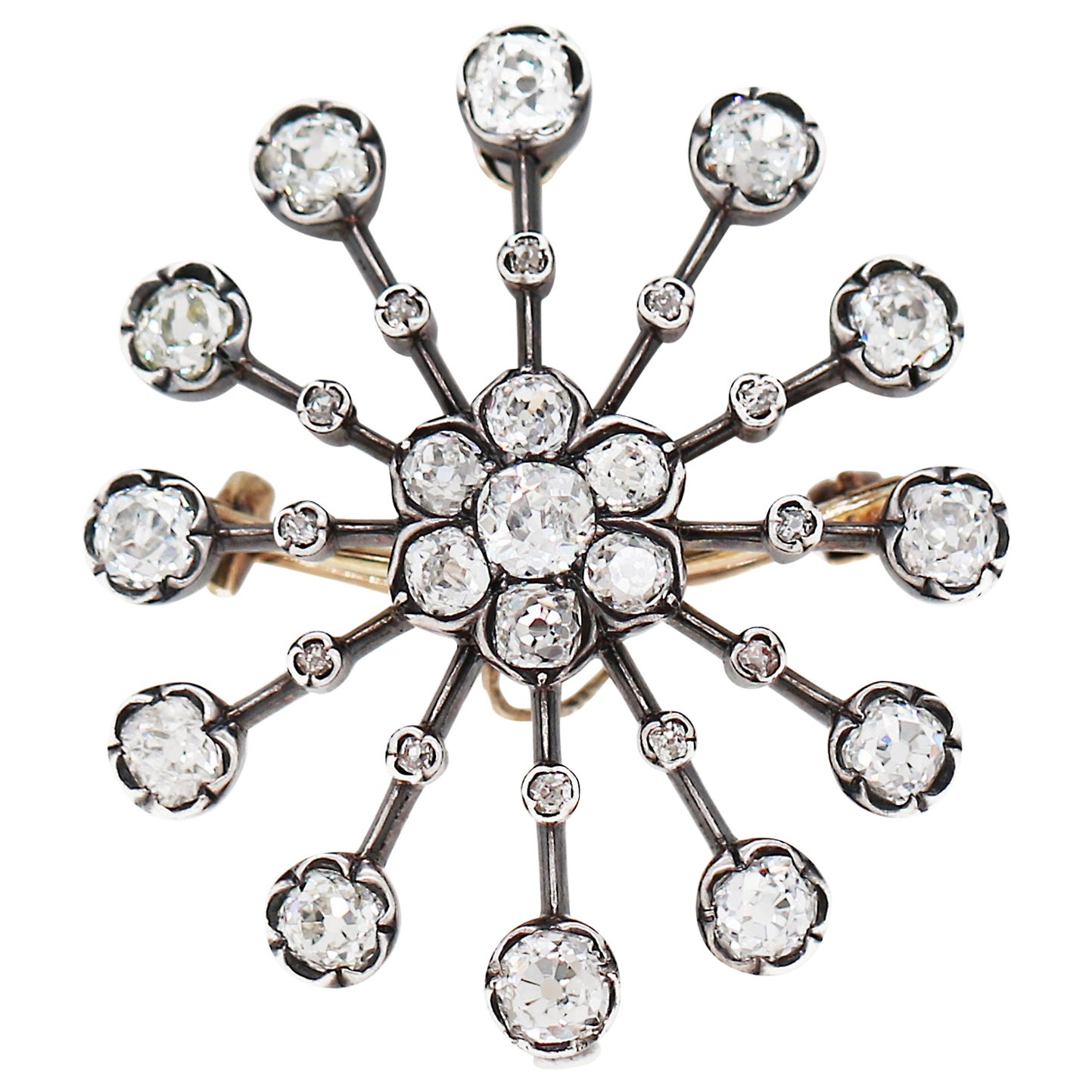 Antique Old Mine Cut Diamond Silver on Gold Brooch and Pendant, circa 1880