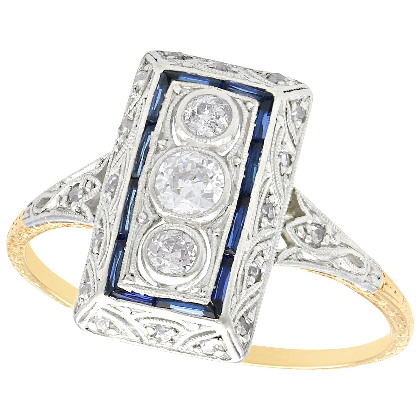 1920s Diamond and Sapphire Yellow Gold Art Deco Cocktail Ring