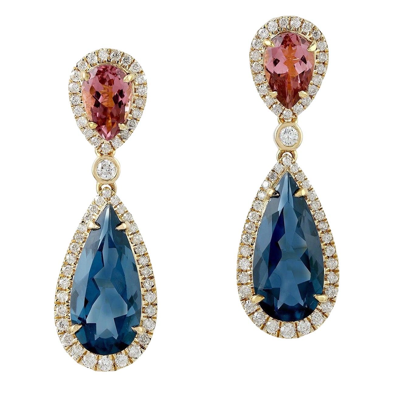 18 Karat Gold Tourmaline Diamond Earrings
