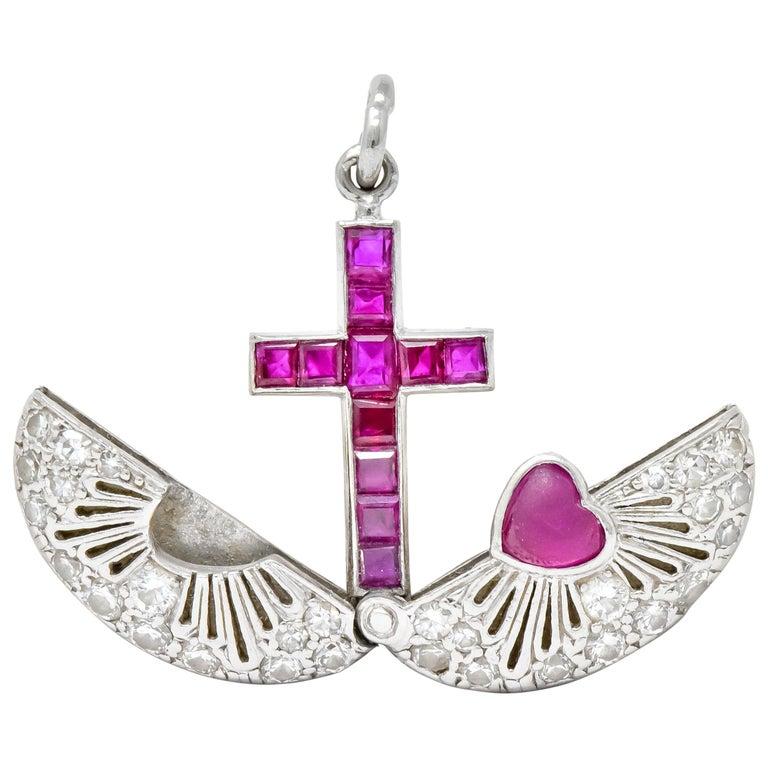 Late Edwardian Ruby Diamond Platinum Sacred Heart Cross Articulated Charm For Sale