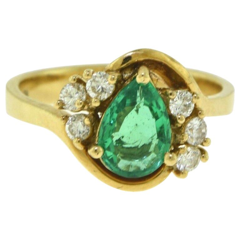 Pear Shaped Emerald and Diamond Yellow Gold Ring