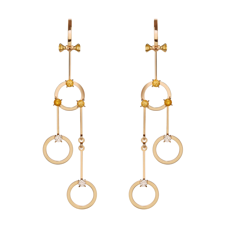 Nathalie Jean 0.40 Carat Diamond 1.02 Carat Citrine Gold Drop Dangle Earrings