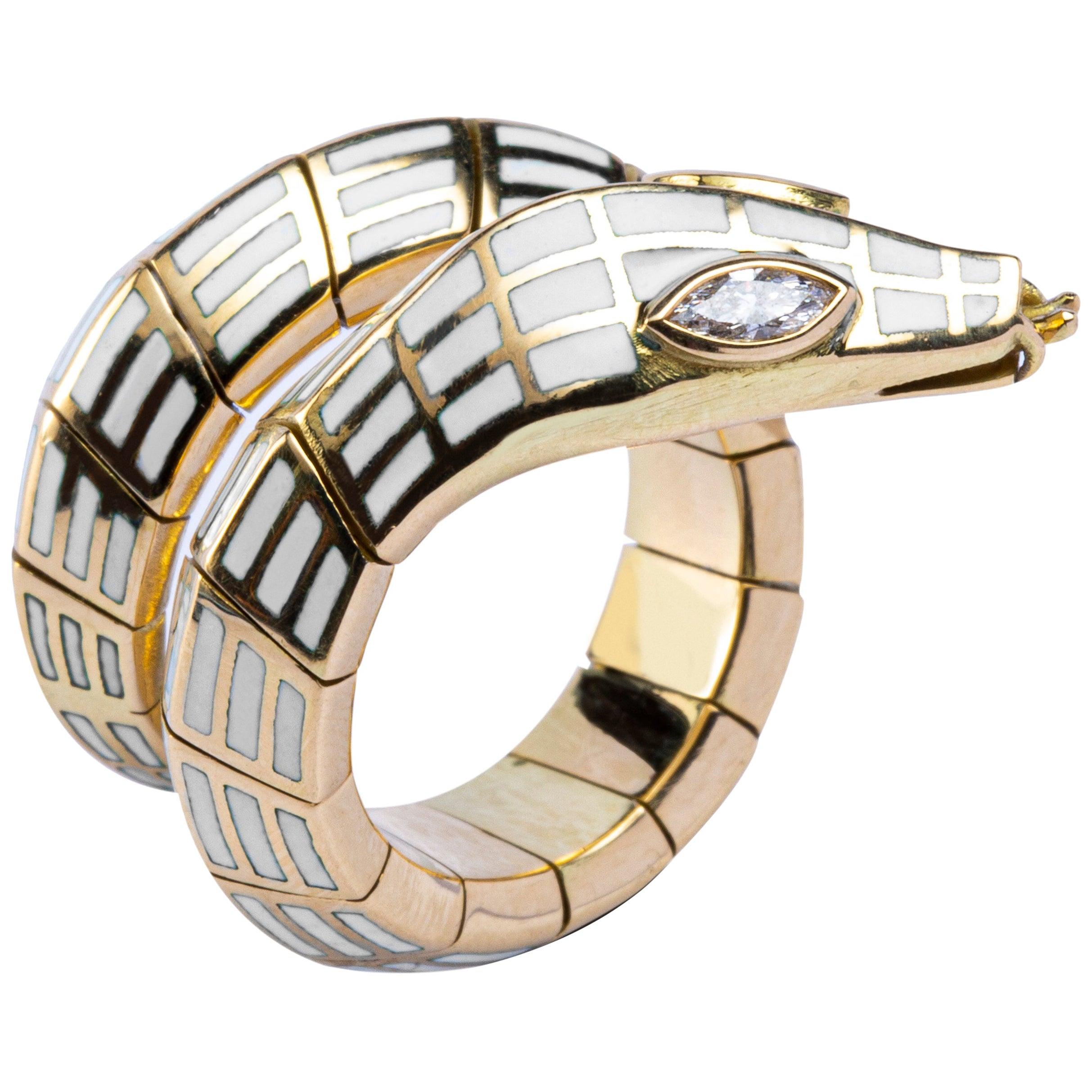 Jona White Diamond White Enamel 18 Karat Yellow Gold Flexible Coil Snake Ring