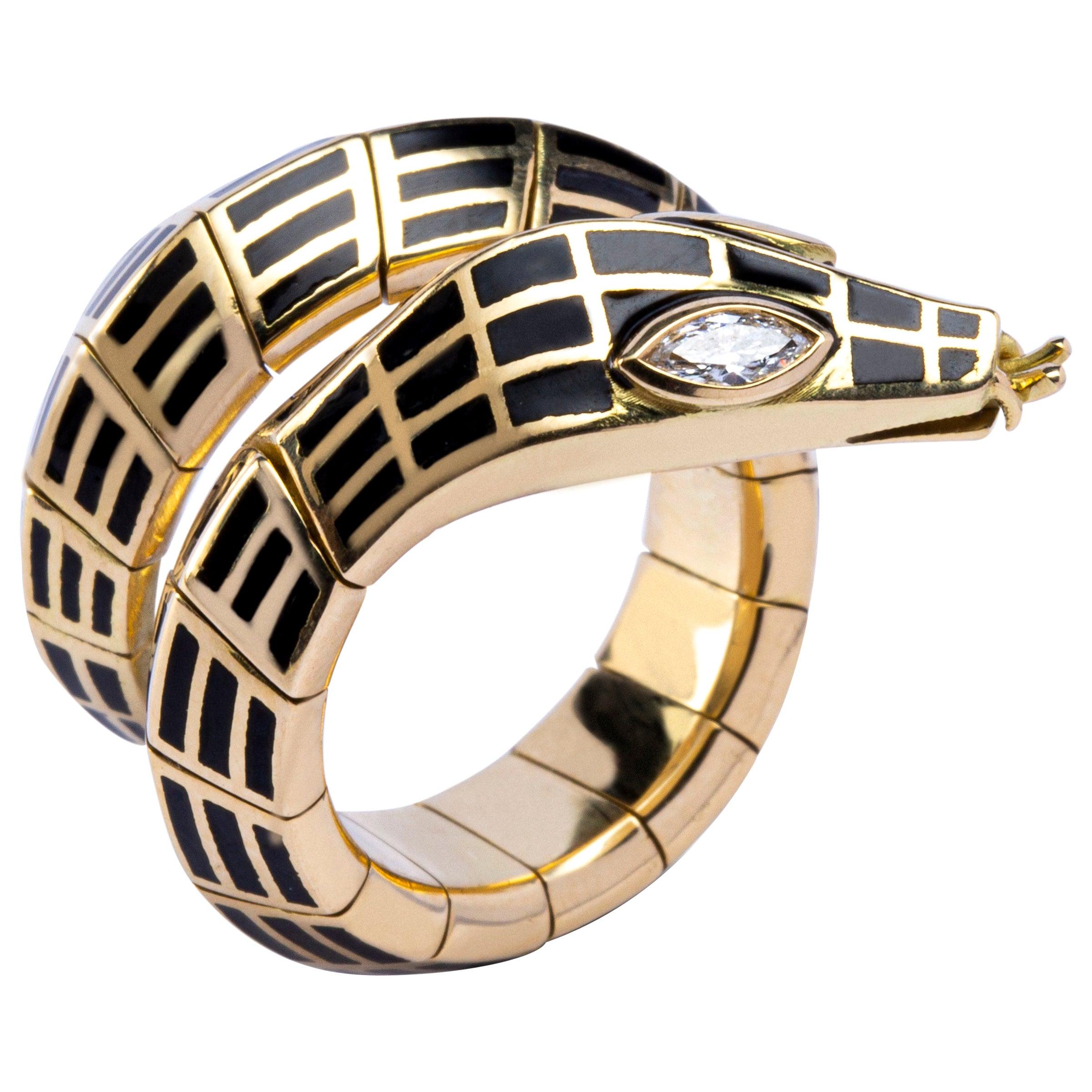 Jona White Diamond Black Enamel 18 Karat Yellow Gold Flexible Coil Snake Ring