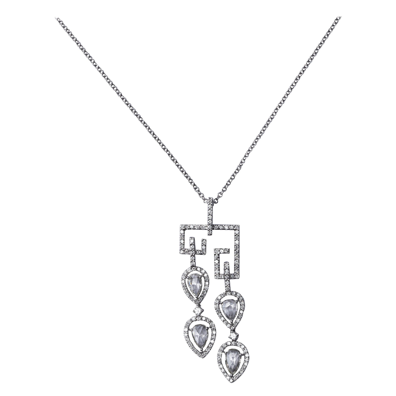 Jona White Diamond 18 Karat White Gold Pendant Necklace