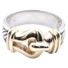 David Yurman 14 Karat Yellow Gold and Sterling Silver Cable Hook Ring