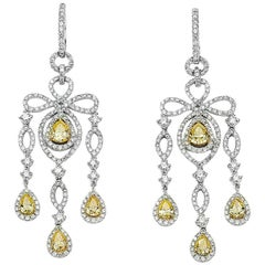 David Rosenberg 18kt White Gold White & Yellow Diamond Pear Chandelier Earrings